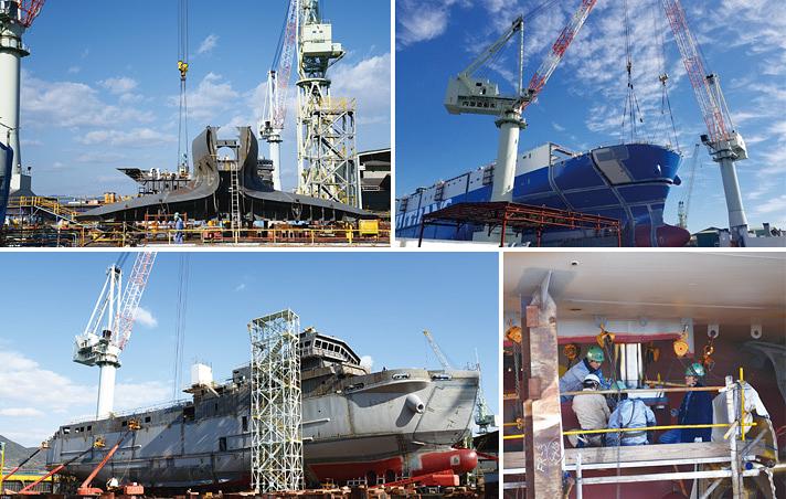 受注生産で建造されていく内海造船の船